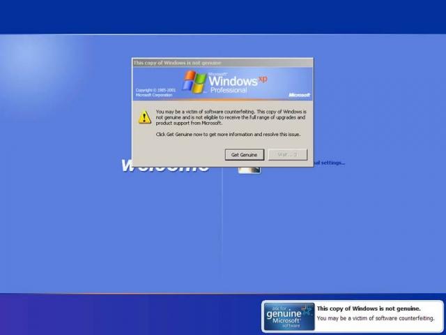 Например, если подлинность установленной на компьютере операционной системы